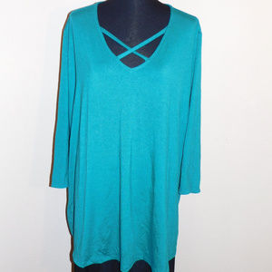 3X Catherines Teal Blue Strappy Stretch Top NWT